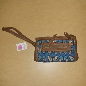 Adorable butterfly faux brown leather wristlet